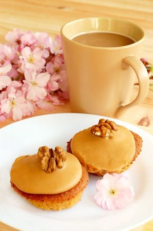 Walnut Coffee cakes served with coffee.