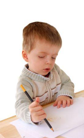 Ni�os aprendiendo a escribir  Foto de archivo - 850837