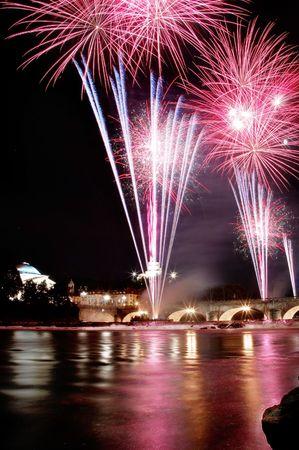 Fireworks Display at Umberto Bridge, Turin.