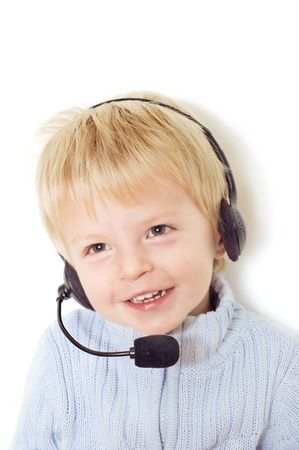 Cute  with telephone operator headset Stock Photo