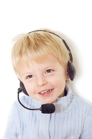 Cute  with telephone operator headset Stock Photo