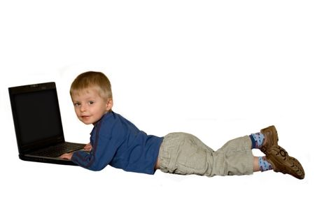 two year old: Two year old boy with laptop