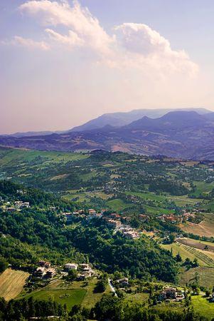 High Angle view of the hills of San Marino