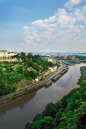 View of the Avon River and surrounding areas in Bristol, UK.