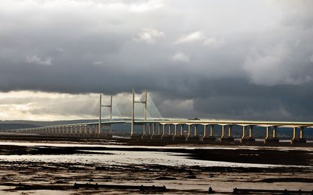 View of the Modern Severn Bridge taken late evening. Stock Photo