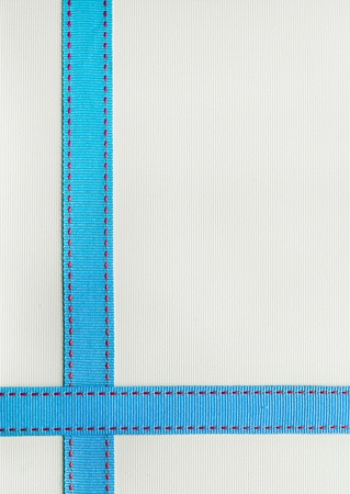 horizontal line: Blue Ribbon with red stitching over a textured background.