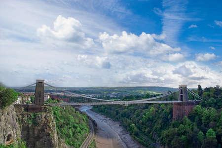 suspension: The world famous clifton suspension bridge in Bristol England