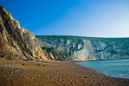wight: Limestone rockface situated on the Isle of Wight, UK.