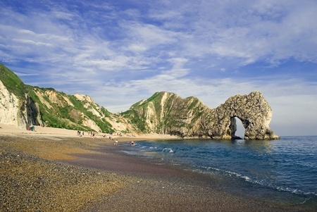 durdle: Durdle Door in Dorset UK, a natural arch caused by limestone erosion. Stock Photo