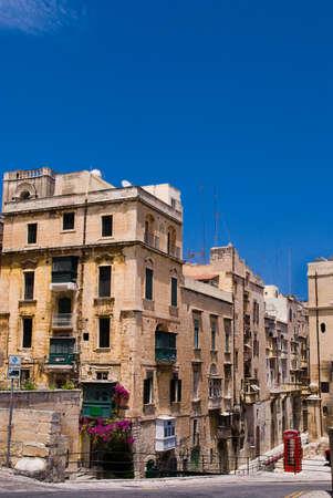 Traditional Maltese Architecture in Valetta, Malta