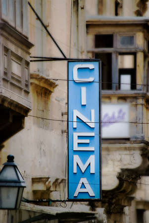 dated: Old Fashioned Cinema Sign in Malta  Editorial