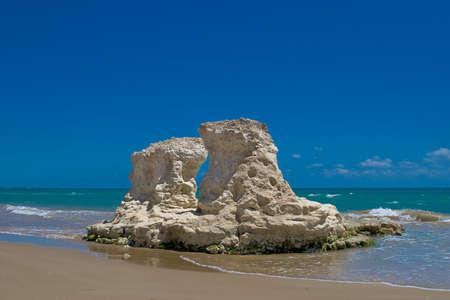 Limestone Rock Formation along the coast of Pozzallo, Italy