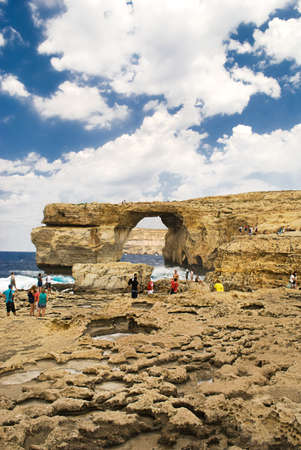 Fantastic Azure Window, famous stone arch on Gozo island, Dwejra  Malta