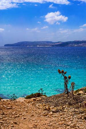 Beautiful Mediterranean Sea in the afternoon overlooking Gozo