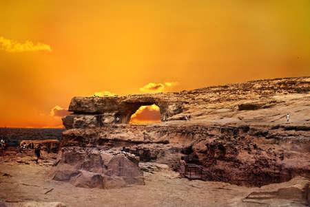 Sunset at the  Azure Window in Malta Gozo Editorial