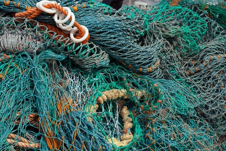 Colourful selection of fishing nets.