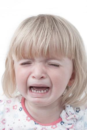 Crying baby girl Portrait Stock Photo