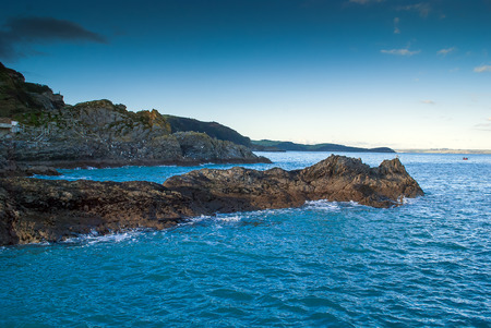 A view of Cornish Rock Formation along the coastline from Mevagissey.