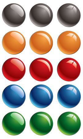 Empty colored glossy buttons Stock Photo