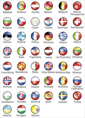 The European states official flags glossy buttons photo