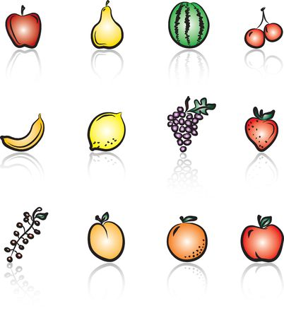 Fruits 1 Colored icons set Vector