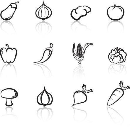 Vegetables 1 Black & White icons set Illustration