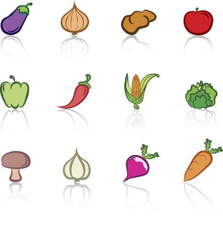 Vegetables 1 color icons set