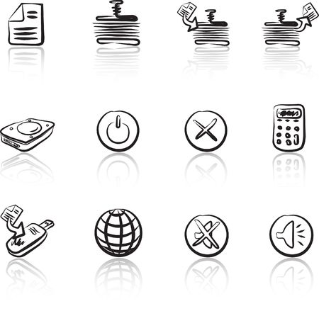 Computer & Data 2 Black & White icons set Stock Vector - 1373009