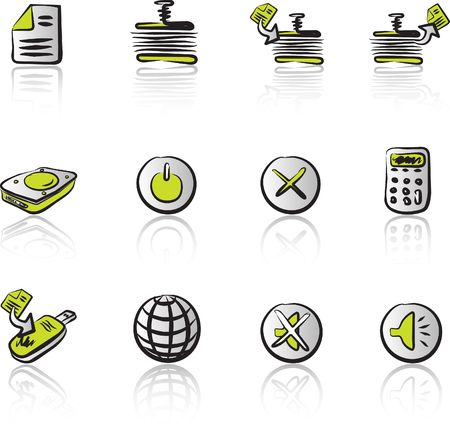 Computer & Data 2 Black & Green icons set Illustration