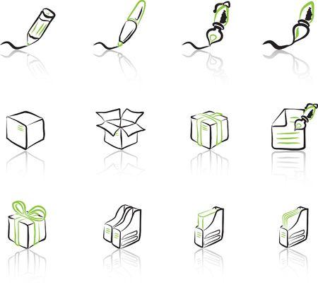 Desk & Office I Black & Green icons set Vector