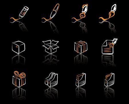Desk & Office I Orange & White icons set Vector