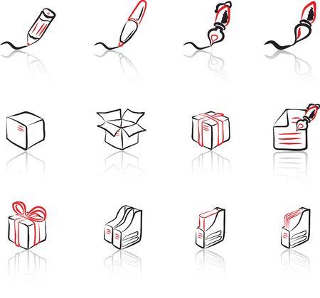 Desk & Office I Black & Red icons set Vector