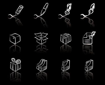 Desk & Office I Black & White icons set Vector
