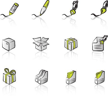 Desk & Office I Black & Green icons set Stock Vector - 1373015