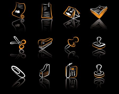 Desk & Office 2 White & Orange icons set on a black background Vector