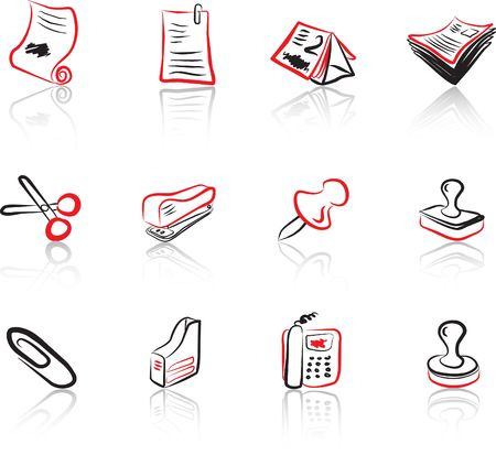 Desk & Office 2 Black & Red icons set Stock Vector - 1373021