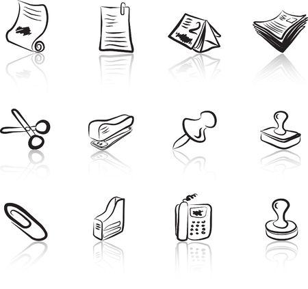 Desk & Office I Black & White icons set Illustration