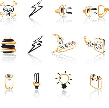 Electric 1 icon set Black & Orange Illustration