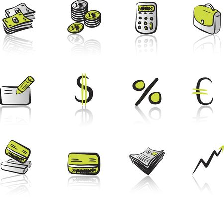 Financial & Business 1 icon set green & black on white background