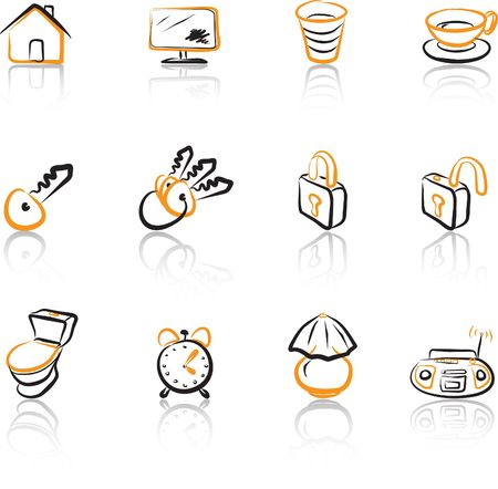 House 1 Black & Orange icons set Vector