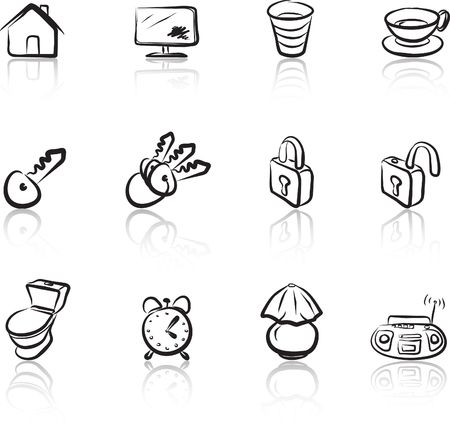 House 1 Black & White icons set Vector