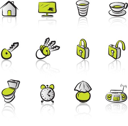 House 1 Black & Green icons set Stock Vector - 1372996