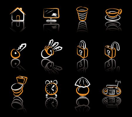 House 1 White & Orange icons set on blavk background Vector