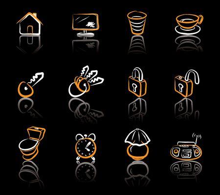 representatives: House 1 White & Orange icons set on blavk background Illustration