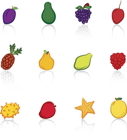 Fruits 2 Colored icons set Illustration