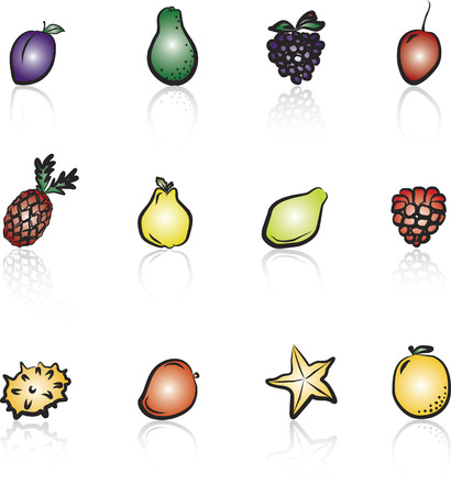 Frutas 2 en Blanco y Negro iconos conjunto  Foto de archivo - 1391141