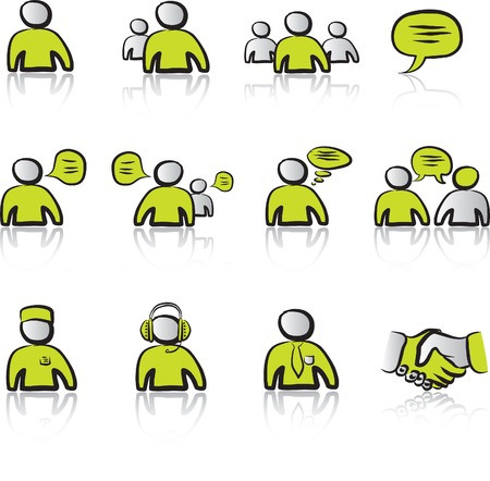 Avatars & Chat 1 icons set with black & green Illustration