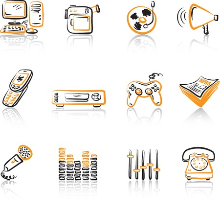 home video camera: Media 3 icons set Black & Orange