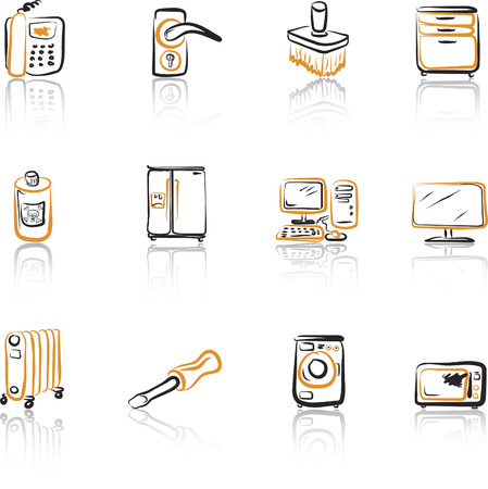 House 2 Black and Orange icons set Vector
