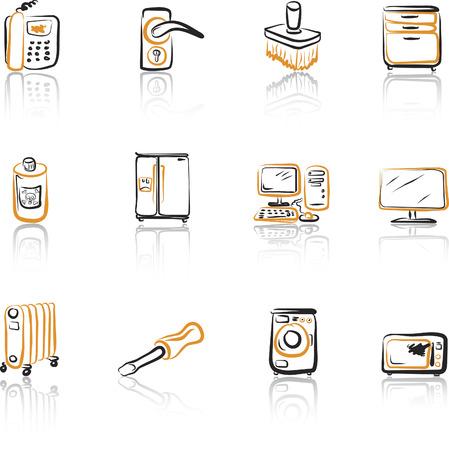 screw key: House 2 Black and Orange icons set Illustration